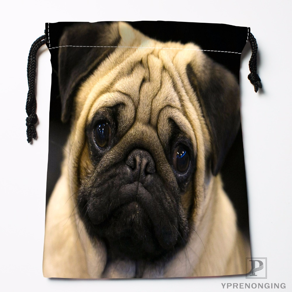 Custom Cute Pug Drawstring Bags Travel Storage Mini Pouch Swim Hiking Toy Bag Size 18x22cm#0412-03-09