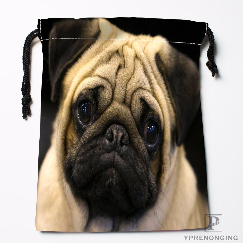 Custom Cute Pug Drawstring Bags Travel Storage Mini Pouch Swim Hiking Toy Bag Size 18x22cm#0412-03-09