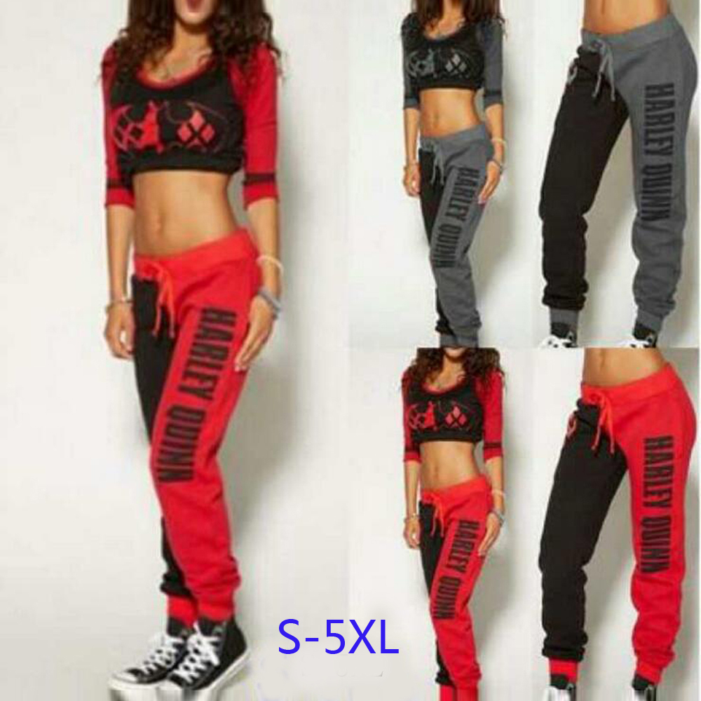 Hot Sale!Suicide Squad Harley Quinn Cosplay Costumes Hoodies Sweatshirts T-shirt Top Joggers Trousers Sport Gym Pants Tracksuit