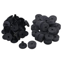 Yibuy Black Drum Set Replacement Parts Felt Washers Plastic Long Cymbal Sleeves With Flange Base Pack