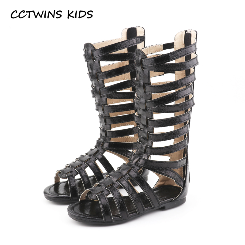 CCTWINS KIDS 2018 Summer Baby Girl Knee High Gladiator Sandal Kid Fashion Soft Flat Children Beach Gold Shoe Toddler BG063 oshkosh b gosh hava g athletic sandal toddler little kid