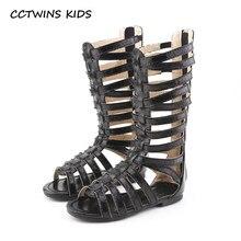 52a910c27 CCTWINS KIDS 2018 Summer Baby Girl Knee High Gladiator Sandal Kid Fashion Soft  Flat Children Beach Gold Shoe Toddler BG063