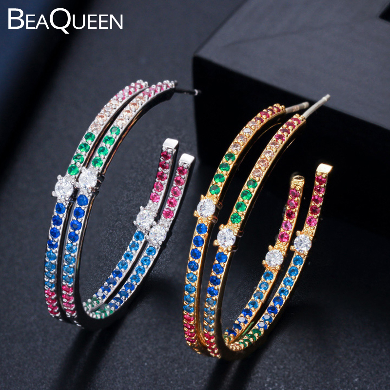 BeaQueen Stunning Lady Multi Color Cubic Zircon Sterling Silver 925 Jewelry Rainbow Colorful Big Round Circle Hoop Earrings E289
