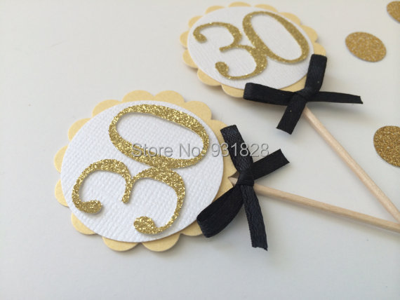 30th Gold Cupcake Toppers With Number Cutout And Black Bow Birthday Celebration Anniversary Or Graduation Food Picks In Cake Decorating Supplies From Home
