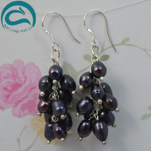 2018 Fashion Black Natural Freshwater Pearl Drop Earrings Hot Selling 925 Sterling Silver Jewelry Fine