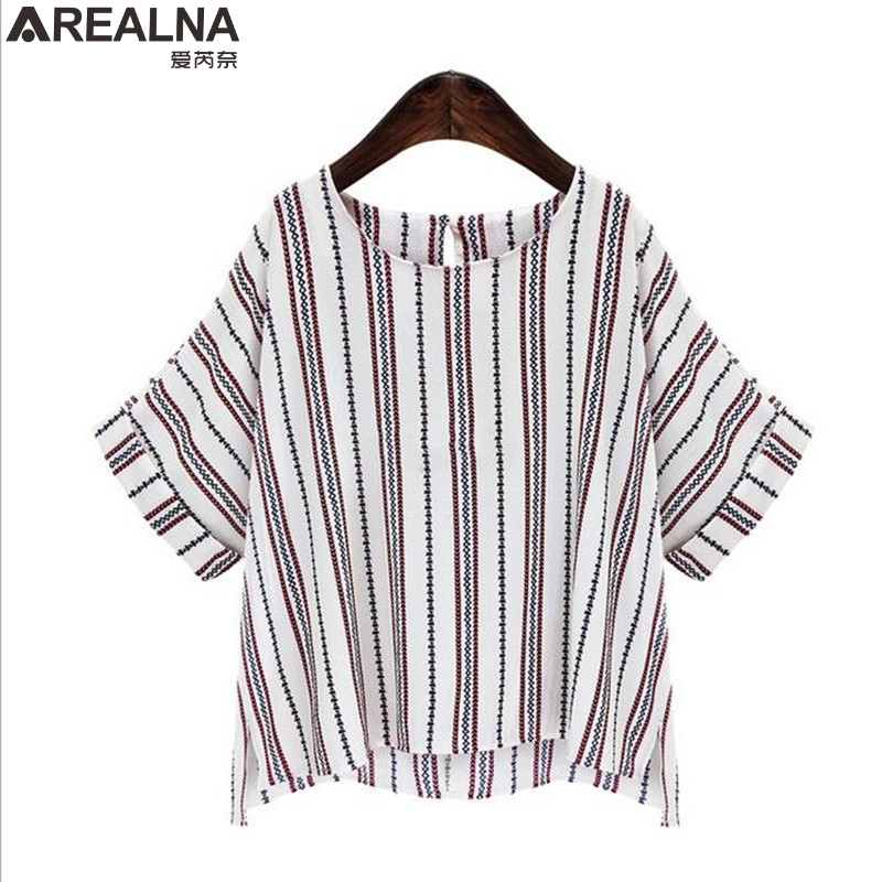 AREALNA 2018 Summer t shirt Women Tops Striped Chiffon shirt Office Work Clothes Korean Fashion tee shirt femme Plus Size 5XL