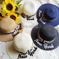 summer women sun hat wide brim straw hats Embroidery letter new york Beach sunHat fashion female beach headwear ladies jazz cap