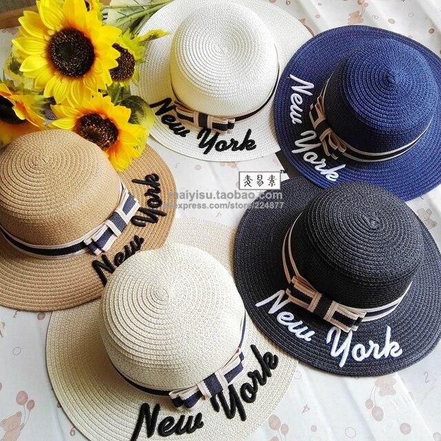 bc917ffdaaa summer women sun hat wide brim straw hats Embroidery letter new york Beach  sunHat fashion female beach headwear ladies jazz cap