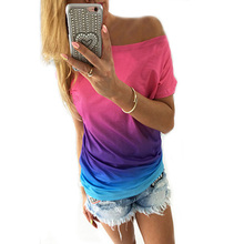 t-shirt women Fashion Loose Short sleeves Gradient color O-Neck female T-shirt Casual summer Woman tops clothing