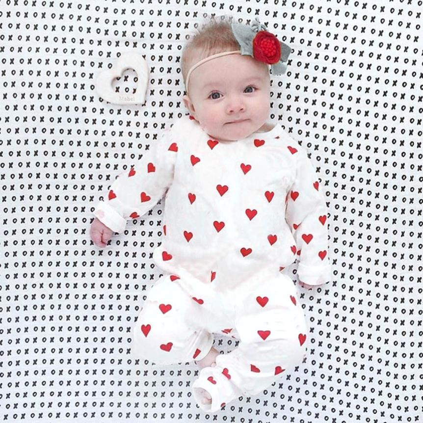 Bodysuits & One-pieces Methodical 2018 Baby Girl Romper 3m-18m Infant Newborn Toddler Boys Clothes Long Sleeve Hearts Print Rompers Jumpsuit Outfit Autumn Winter
