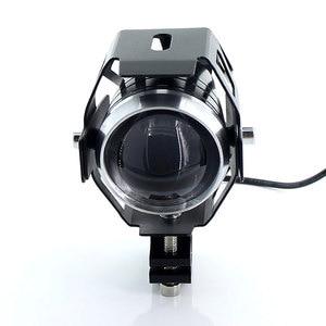 Image 4 - 2PCS Bianco moto rcycle fari lampada ausiliaria U5 led moto rbike accessori faretti 12V moto DRL spot testa luci