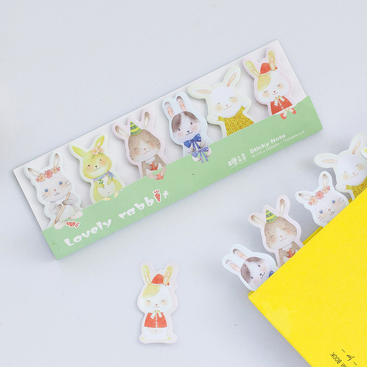 1 PCS DIY Cute Hand Painted Rabbit Adhesive Memo Pad Sticky Note Memo Post It Note Set Gift Stationery