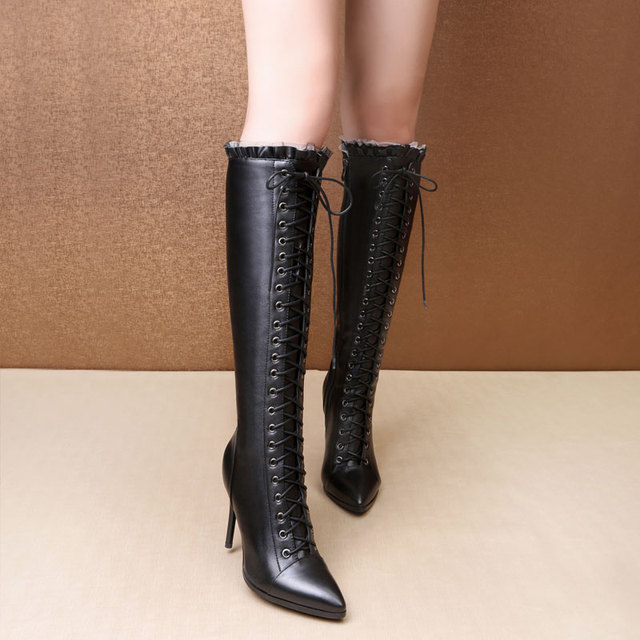 2017 Daitifen new sexy thin high heels pointed toe the knee high boots PU+Genuine leather women boots hot sale lace up Long Boot