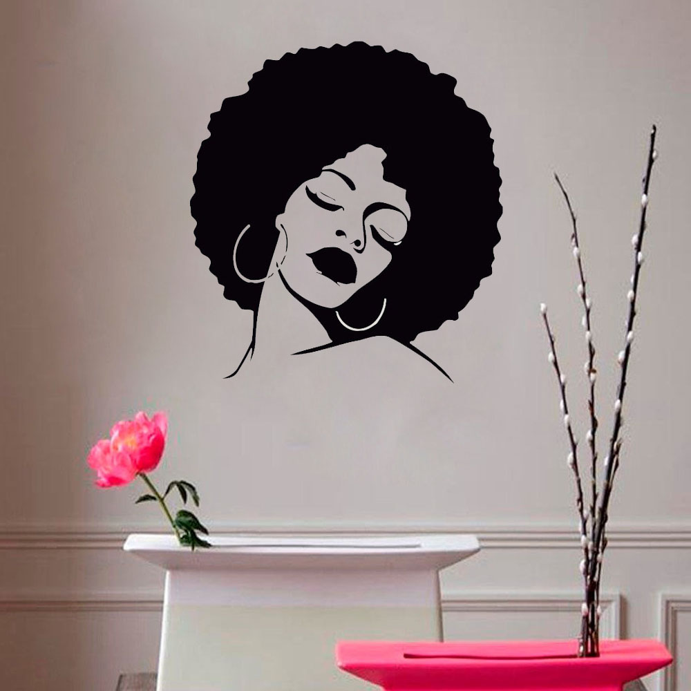Arte Salon & Spa Chica De Moda De Vinilo Decorativo Wall Art Sticker Lady Sexy Hair Spa Extraíble Calcomanía A Prueba De Agua Para Salon Decal Hair Salon Mural