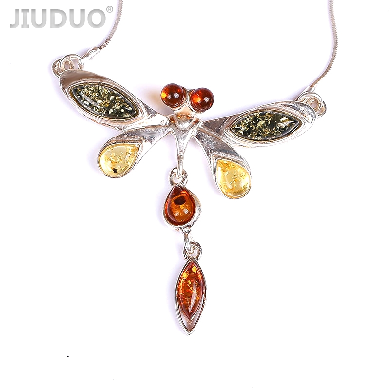 JIUDUO Amber beeswax s925 sterling silver swan necklace gold clavicle chain female simple pendant jewelry send girlfriend