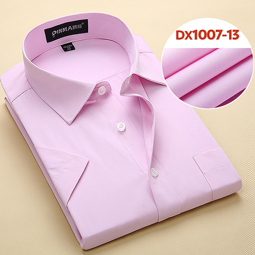 Summer Men's Short-sleeve White Basic Dress Shirt with Single Chest Pocket Standard-fit Business Formal Solid/twill/plain Shirts 13