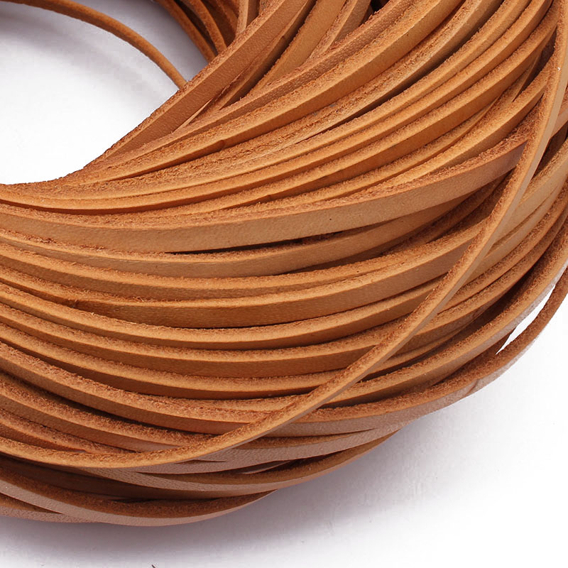 2 Meters High Quality 3mm 4mm 5mm Flat Genuine Natural Leather Cord String Jewelry Making