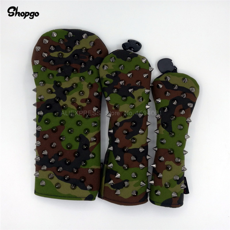 [Black Rivets] Premium Golf Headcovers Camouflage Color Golf Driver Fairway Woods Rescue Covers Complete Set Mascot Novelty Gift