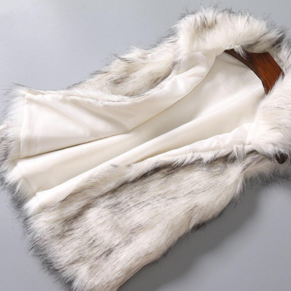 Faux De En Fausse Femelle Laine Muqgew Montant Femme Fourrure Veste Col D'hiver White Manteau Femmes Gilet nOk80wP