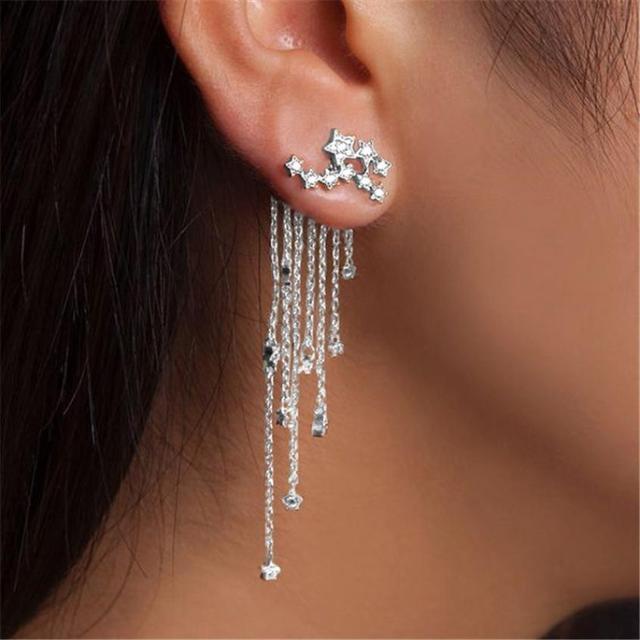 Gemixi Shooting Star Rhinestone Long Tels Drop Hook Dangle Earrings Gold Silver 5 10