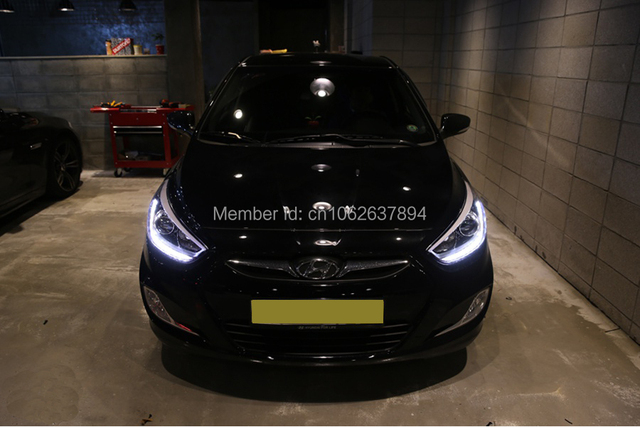 Projection Led Daytime Running Light Head Lights Lamp For 2017 Hyundai Accent Solaris Genuine Oem Parts