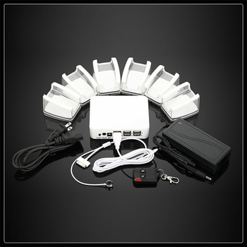 6 port in 1 security display alarm system with acrylic stand and remote control for phone/tablet/PSP/MP4,5