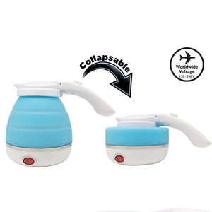 Image 2 - Travel Foldable Electric Kettle  Portable Silicone Collapsible Camping Kettle 100 240V 750ML(Blue)  Boil Dry Protection