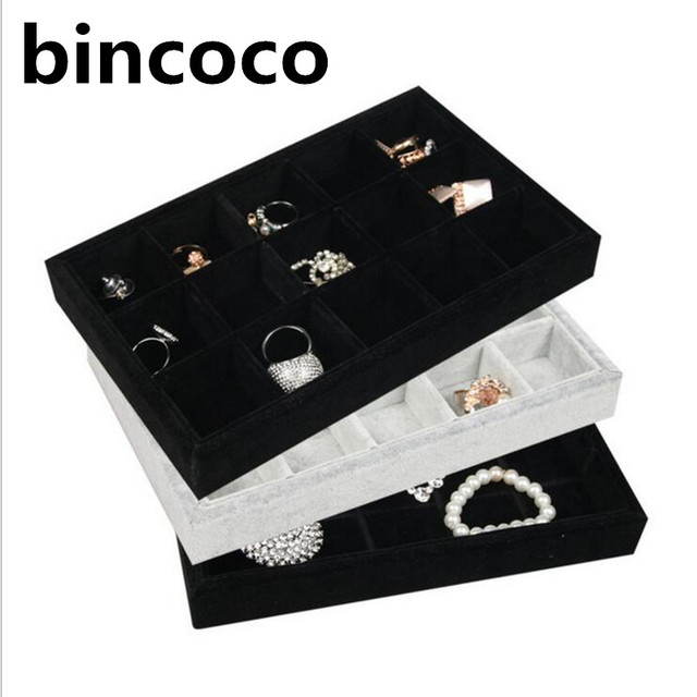 bincoco jewelry display tray gray black velvet receive tray