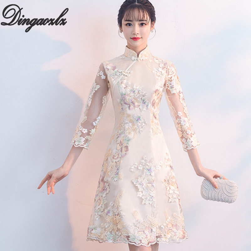 Dingaozlz Vestidos embroidery women dress Improved Cheongsam elegant female short sleeve casual lace dress korean