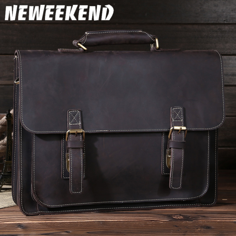 NEWEEKEND Retro Casual Genuine Leather Crazy Horse 14 Inch Cowhide Crossbody Briefcases Handbag laptop Ipad Bag