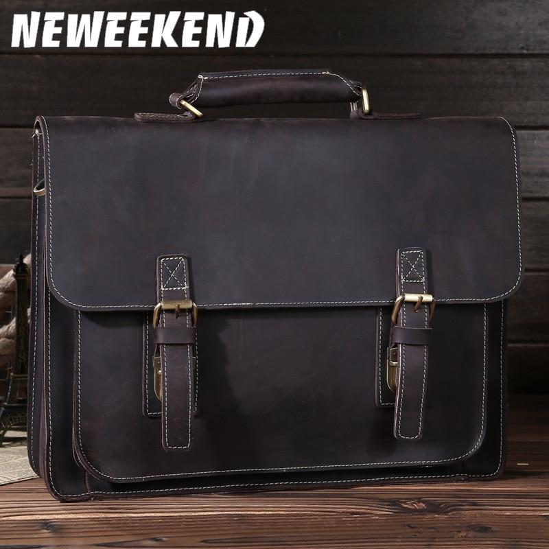 NEWEEKEND Retro Casual Genuine Leather Crazy Horse 14 Inch Cowhide Crossbody Briefcases Handbag Laptop Ipad Bag For Man 6912