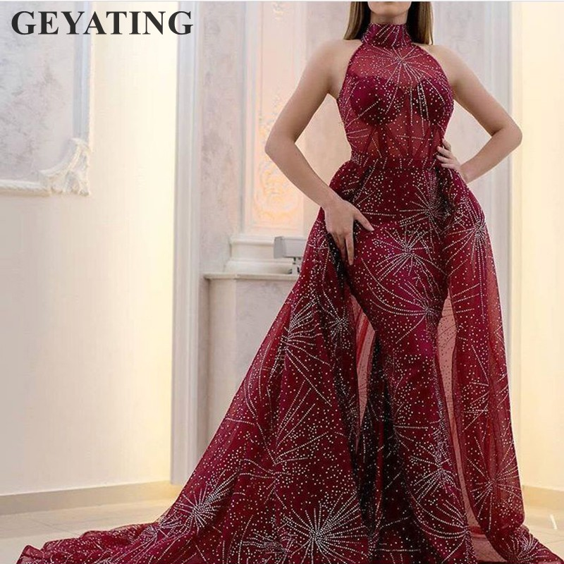 Glitter Sequin Burgundy Long Prom Dresses Detachable Train High Neck Saudi Arabic Women Mermaid Evening Dress 2020 Elegant Dubai