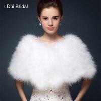 Straußenfedern Brautpelzschal Luxuriöse Ehe Shrugmantel Braut Winter Hochzeit Boleros