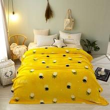 1PC Yellow Pineapple Coral Fleece Blanket Spring Autumn For Children