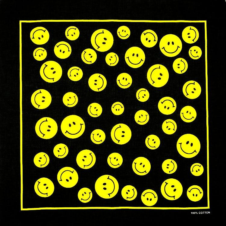 100% Baumwolle Gelb Smiley Design Schal Punk Hip-hop Kopfbedeckungen Tuch Bandanas Foulard Straße Tänzerin Halstuch Halstuch Komplette Artikelauswahl