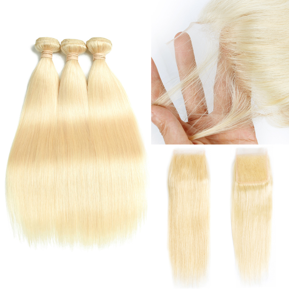 613 Blond 3 Bundles with Closure Top Lace Closure and 3 Bundles Malaysian Straight Remy