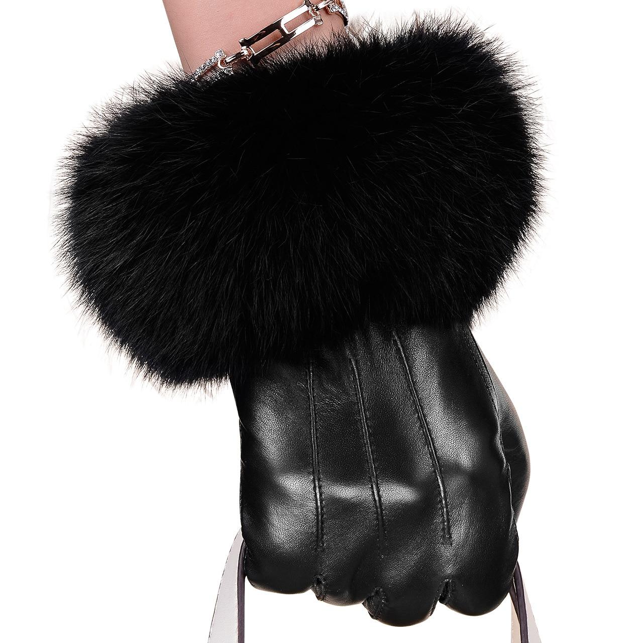 Winter Spring Fashion Winter Sheepskin Gloves Top Lambskin Solid Real Genuine Leather Women Wrist Driving Glove
