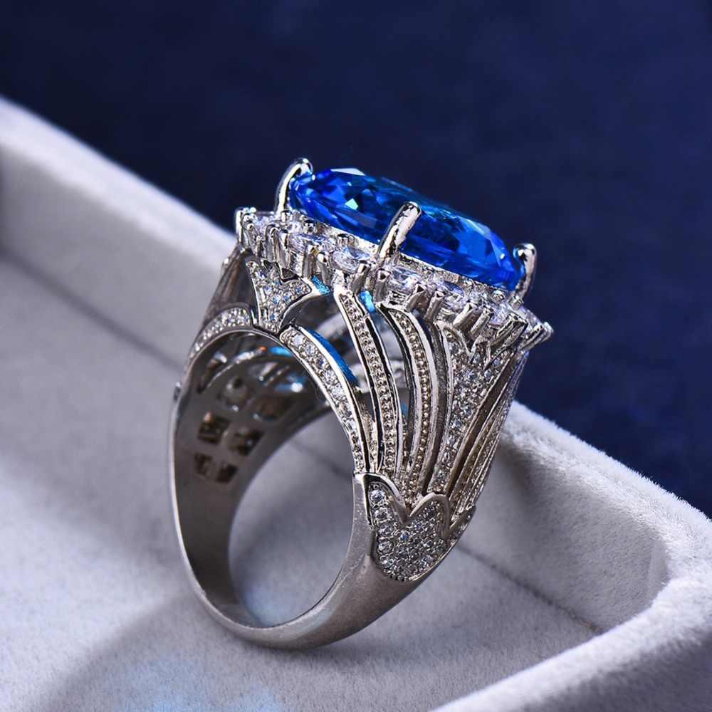 Mewah Wanita Biru Besar Batu Cincin Pernikahan Warna Perak Cincin untuk Wanita 2019 Baru Fashion Tahun Pertunangan Perhiasan Hadiah