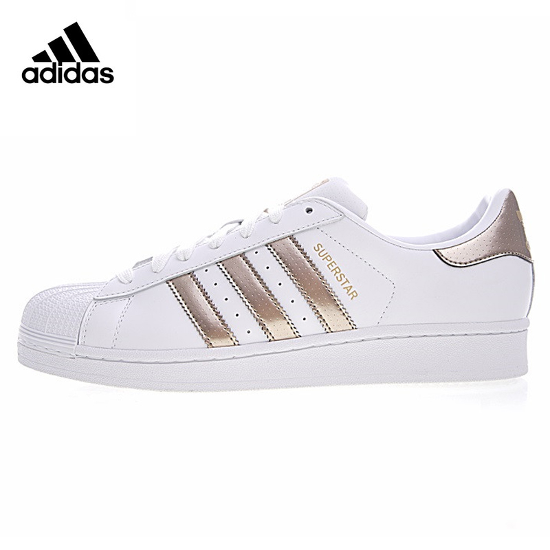 Original New Arrival Authentic Adidas Clover Men and Women Skateboarding Shoes Gold White Non-slip Wear Resistant Balance
