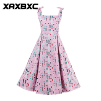 XAXBXC 2017 Verão Vestido Rosa Kawaii Garrafa de vidro Prints Backless 1950 s Balanço Vintage Vestido Sem Mangas Mulheres Festa À Noite