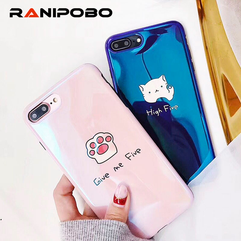 Blu-ray Cat Footpad Pattern Case For iphone X Case For ihone 6S 6 7 8 Plus Fashion Couples Letter Print Back Cover Cases ...