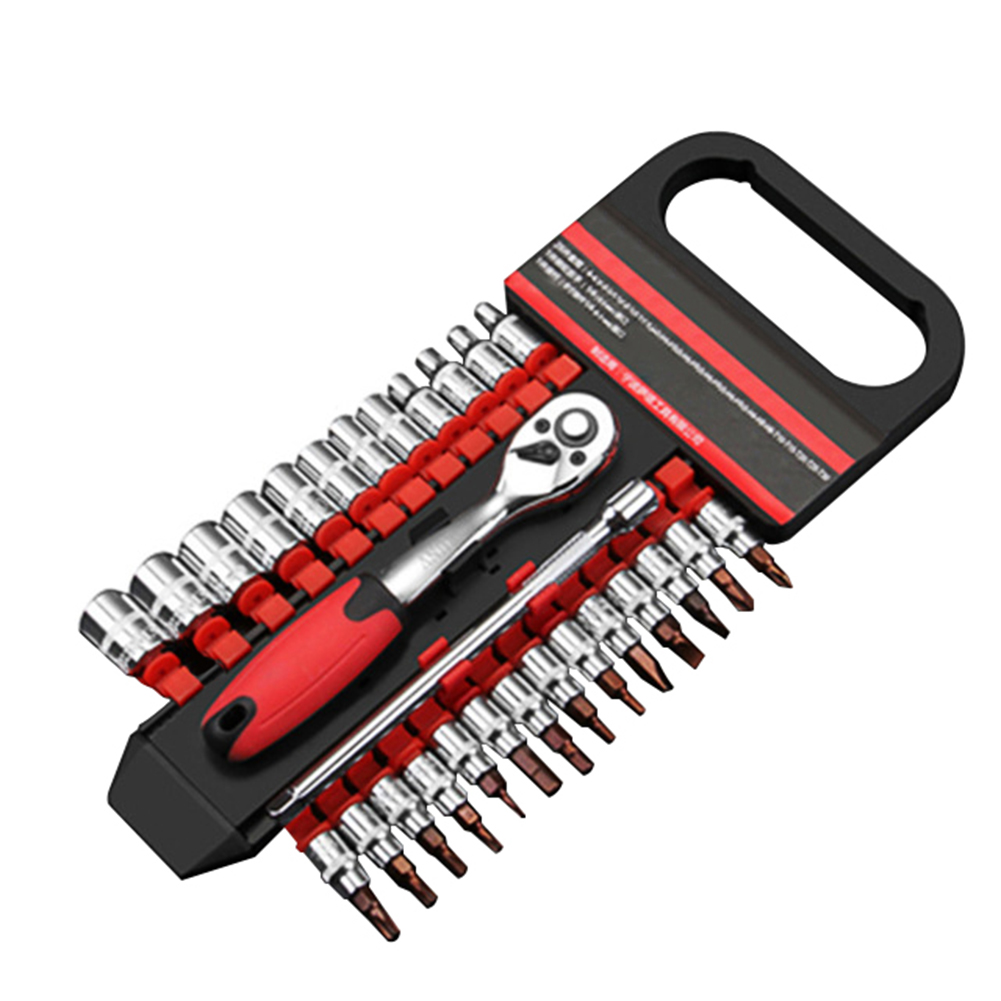 Image 5 - 28Pcs Car 1/4 Inch Ratchet Wrench Socket Release Extension Bar Repair Tool Set-in Sheet Metal Tools Set from Automobiles & Motorcycles