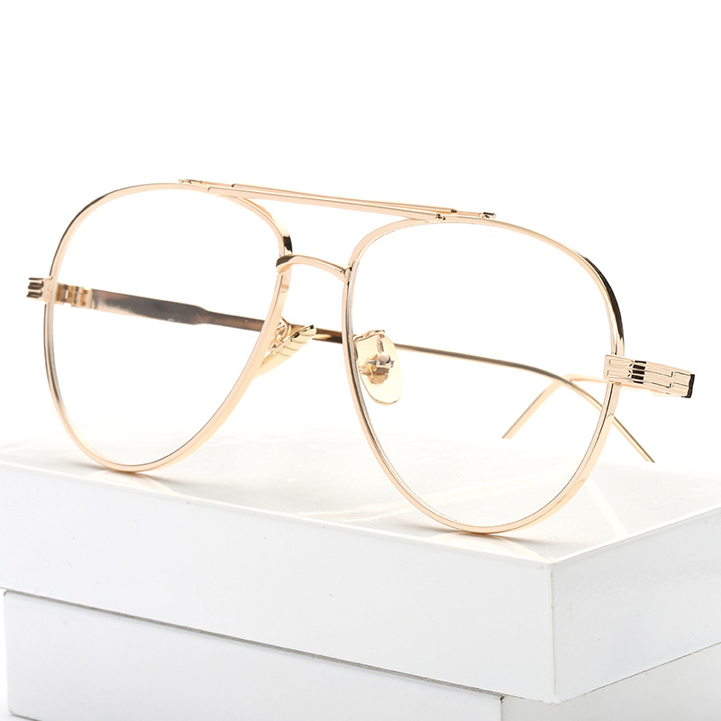clear vintage unisex glasses with gold frames