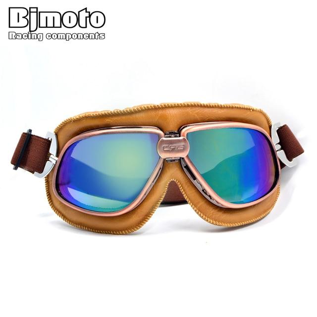 267a9dfa43b58 Nova de Couro Da Motocicleta Óculos de Proteção Motociclista Piloto Do  Vintage Com Lente Reflexiva Fit