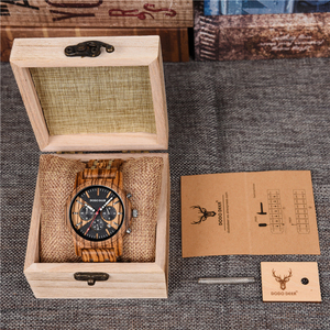 Image 5 - DODO DEER Stainless Steel Wood Watch Men Calendar Timepieces Chronograph Quartz Watches relogio masculino In Wooden Boxes OEM