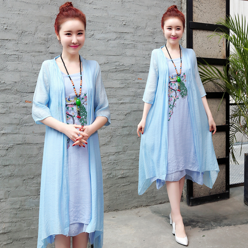 2019 New Arrival Soft Cotton Linen Summer Dress Fashion Embroidery Phoenix Loose Two Piece Set Dress Suits Women Casual Dress 2