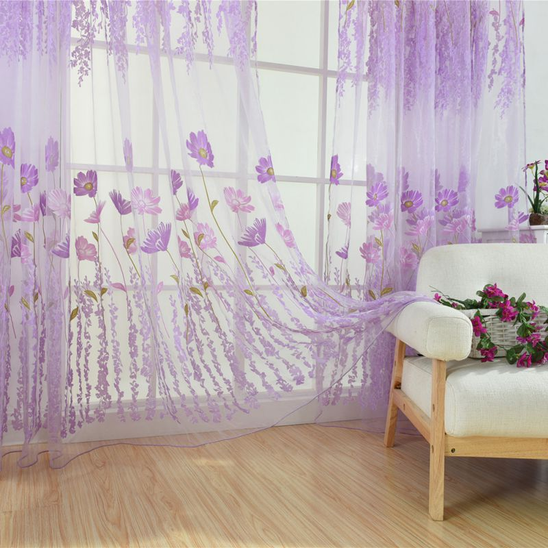 Tulle Curtains For The Kitchen Living Room Fabric Voile Window Bedroom Tulip Printed Balcony Sun Shading