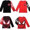 Hot venda Nova 2015 Crianças Do Bebê Meninas Meninos Spiderman Herói T-shirt de Manga longa crianças Encabeça, algodão topos das crianças