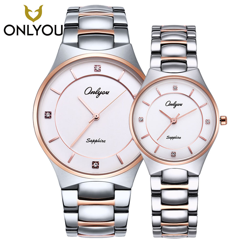 ONLYOU Luxury Brand Ladies Watches Business Leisure Lovers Watches Silver/Rose Gold Men Wristwatch Auto Date Men Military Clock onlyou lovers watches men top fashion brand women dress business wristwatch ladies waterproof gold watch quzrtz clock wholesale
