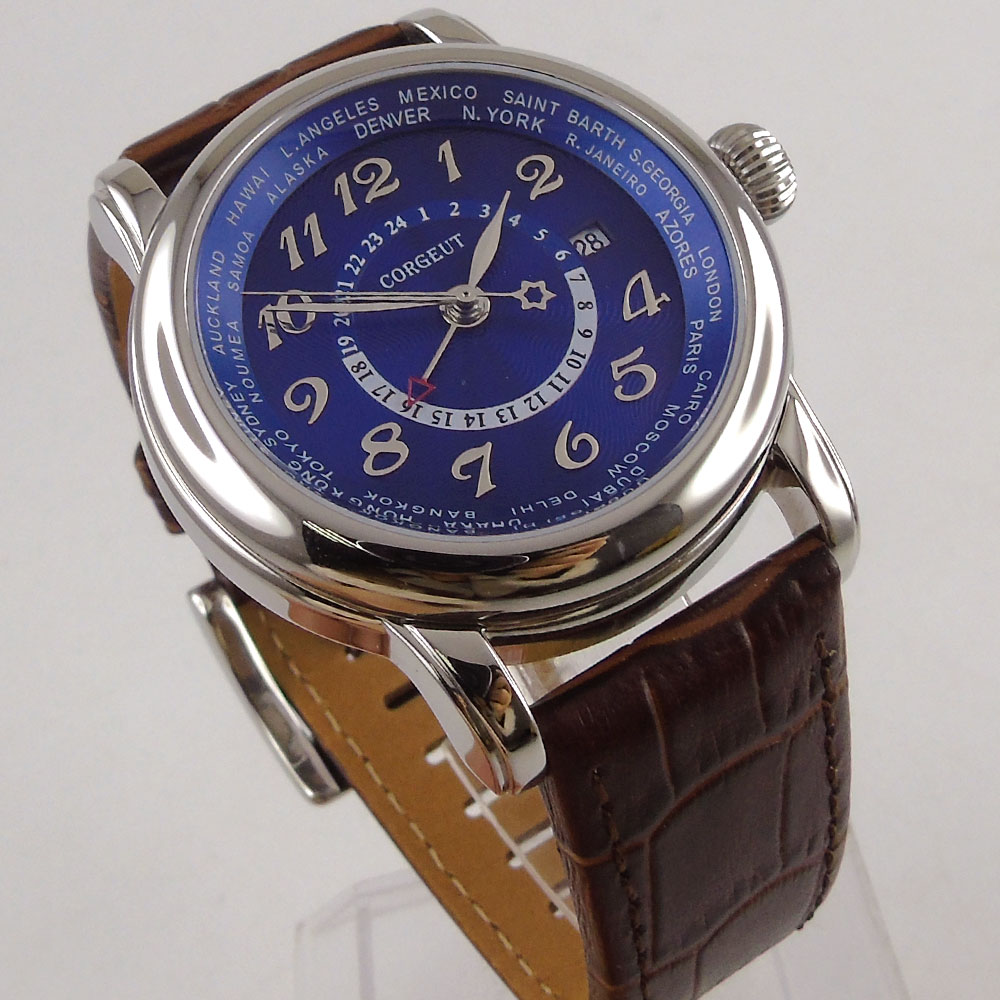 43mm corgeut duży pilot niebieski dial brązowy skórzany pasek GMT skórzany pasek automatyczny męski zegarek na rękę 37 w Zegarki mechaniczne od Zegarki na  Grupa 2